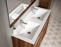 LUCENA BATH 0047 49 INCH CERAMIC DOUBLE SINK IN WHITE