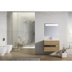 LUCENA BATH 3061 VISION 24 INCH 2 DRAWER VANITY WITH CERAMIC SINK IN CANELA WITH BLACK GLASS HANDLE