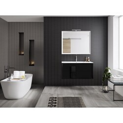 LUCENA BATH 4306 DÉCOR CRISTAL 32 INCH 2 DRAWER VANITY WITH CERAMIC SINK IN BLACK WITH BLACK GLASS HANDLE