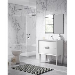 LUCENA BATH 42471 DÉCOR TIRADOR 24 INCH 2 DRAWER FREESTANDING VANITY WITH CERAMIC SINK IN WHITE