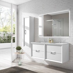 LUCENA BATH 42472 DÉCOR TIRADOR 48 INCH 4 DRAWER DOUBLE VANITY WITH CERAMIC SINK IN WHITE
