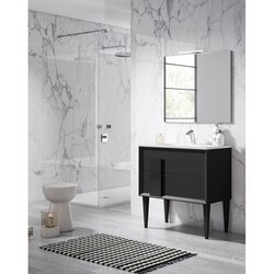 LUCENA BATH 43061 DÉCOR CRISTAL 32 INCH FREESTANDING 2 DRAWER VANITY WITH CERAMIC SINK IN BLACK WITH BLACK GLASS HANDLE