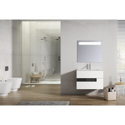 LUCENA BATH 3069-01/BLACK VISION 32 INCH 2 DRAWER VANITY WITH CERAMIC SINK IN WHITE WITH BLACK GLASS HANDLE