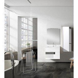 LUCENA BATH 3069-01/GREY VISION 32 INCH 2 DRAWER VANITY WITH CERAMIC SINK IN WHITE WITH GREY GLASS HANDLE