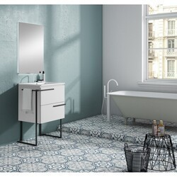 LUCENA BATH 3876LTB SCALA 24 INCH 2 DRAWER VANITY WITH CERAMIC SINK, METAL LEGS AND TOWEL BAR IN WHITE