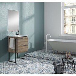LUCENA BATH 3877LTB SCALA 24 INCH 2 DRAWER VANITY WITH CERAMIC SINK, METAL LEGS AND TOWEL BAR IN TERRA