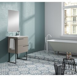 LUCENA BATH 3890LTB SCALA 40 INCH 2 DRAWER VANITY WITH CERAMIC SINK, METAL LEGS AND TOWEL BAR IN QUARZO