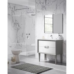 LUCENA BATH 42601-01/SILVER DÉCOR TIRADOR 32 INCH 2 DRAWER FREESTANDING VANITY WITH CERAMIC SINK IN WHITE WITH SILVER