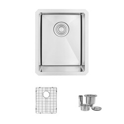 STYLISH S-310G 14 L X 18 W INCH STAINLESS STEEL SINGLE BASIN UNDERMOUNT BAR SINK WITH GRID AND STRAINER