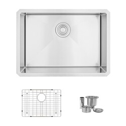 STYLISH S-312XG 25 L X 18 W INCH STAINLESS STEEL SINGLE BASIN UNDERMOUNT KITCHEN SINK WITH GRID AND STRAINER