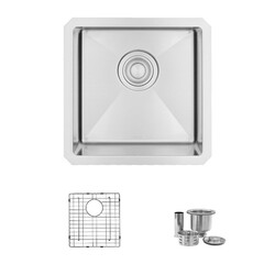 STYLISH S-317G 15 L X 15 W INCH STAINLESS STEEL SINGLE BASIN UNDERMOUNT BAR SINK WITH GRID AND STRAINER