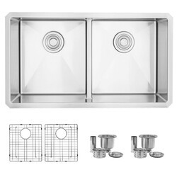 STYLISH S-321XG 32 L X 18 W INCH STAINLESS STEEL DOUBLE BASIN LOW DIVIDER UNDERMOUNT KITCHEN SINK WITH GRIDS AND STRAINERS