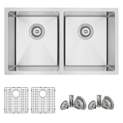 STYLISH S-401G 31 L X 18 W INCH STAINLESS STEEL DOUBLE BASIN UNDERMOUNT KITCHEN SINK WITH GRIDS AND STRAINERS