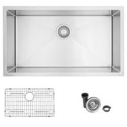 STYLISH S-402G 31 L X 18 W INCH STAINLESS STEEL SINGLE BASIN UNDERMOUNT KITCHEN SINK WITH GRID AND STRAINER