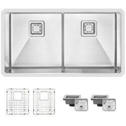 STYLISH S-501XG 33 L X 18 W INCH STAINLESS STEEL DOUBLE BASIN UNDERMOUNT KITCHEN SINK WITH GRIDS AND STRAINERS