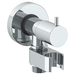 WATERMARK ELB-TIT1200 TITANIUM 2 3/8 INCH HAND SHOWER WALL ELBOW WITH HOOK AND SHUT-OFF VALVE
