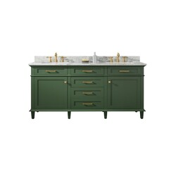 LEGION FURNITURE WLF2272-VG 72 INCH VOGUE GREEN DOUBLE SINGLE SINK VANITY CABINET WITH CARRARA WHITE TOP