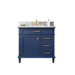LEGION FURNITURE WLF2236-B 36 INCH BLUE FINISH SINK VANITY CABINET WITH CARRARA WHITE TOP