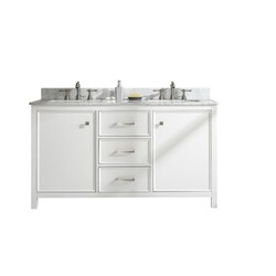 LEGION FURNITURE WLF2160D-W 60 INCH WHITE FINISH DOUBLE SINK VANITY CABINET WITH CARRARA WHITE TOP