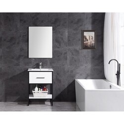 LEGION FURNITURE WH7024-WH-PVC 24 INCH WHITE FINISH SINK VANITY WITH BLACK METAL FRAME