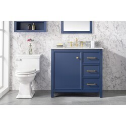 LEGION FURNITURE WLF2136-B 36 INCH BLUE FINISH SINK VANITY CABINET WITH CARRARA WHITE TOP