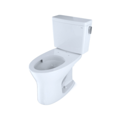 TOTO CST746CEMRG#01 DRAKE TWO-PIECE ELONGATED DUAL FLUSH 1.28 AND 0.8 GPF DYNAMAX TORNADO FLUSH TOILET WITH CEFIONTECT AND RIGHT-HAND TRIP LEVER IN COTTON WHITE