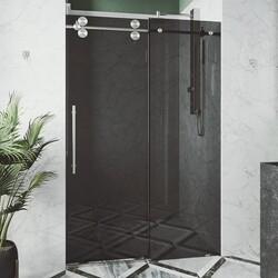 VIGO VG6041MBBLK7274 ELAN 72 X 74 INCH FRAMELESS SLIDING SHOWER DOOR IN MATTE BLACK WITH BLACK GLASS AND HANDLE
