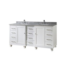 DIRECT VANITY SINKS 72BD15P-WWC ULTIMATE CLASSIC 72 INCH VANITY IN WHITE WITH CARRARA WHITE MARBLE VANITY TOP WITH WHITE BASINS
