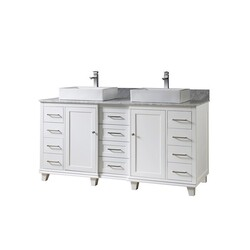 DIRECT VANITY SINKS 72BD15-WAWC ULTIMATE CLASSIC 72 INCH VANITY IN WHITE WITH CARRARA WHITE MARBLE VANITY TOP WITH VESSEL SINKS