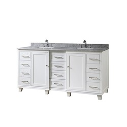 DIRECT VANITY SINKS 72BD15-WWC ULTIMATE CLASSIC 72 INCH VANITY IN WHITE WITH CARRARA WHITE MARBLE VANITY TOP WITH WHITE BASINS