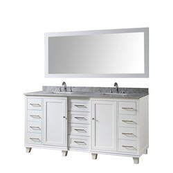 DIRECT VANITY SINKS 72BD15-WWC-M ULTIMATE CLASSIC 72 INCH VANITY IN WHITE WITH CARRARA WHITE MARBLE VANITY TOP WITH WHITE BASINS AND MIRROR
