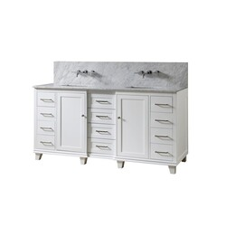 DIRECT VANITY SINKS 72BD15-WWC-WM ULTIMATE CLASSIC PREMIUM 72 INCH VANITY IN WHITE WITH CARRARA WHITE MARBLE VANITY TOP WITH WHITE BASINS