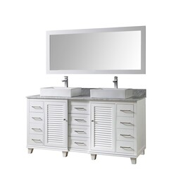 DIRECT VANITY SINKS 72BD16-WAWC-M ULTIMATE SHUTTER 72 INCH VANITY IN WHITE WITH CARRARA WHITE MARBLE VANITY TOP WITH VESSEL SINKS AND MIRROR