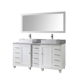 DIRECT VANITY SINKS 72BD15P-WAWC-M ULTIMATE CLASSIC 72 INCH VANITY IN WHITE WITH CARRARA WHITE MARBLE VANITY TOP WITH VESSEL SINKS AND MIRROR