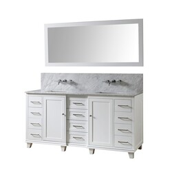 DIRECT VANITY SINKS 72BD15P-WWC-WM-M ULTIMATE CLASSIC PREMIUM 72 INCH VANITY IN WHITE WITH CARRARA WHITE MARBLE VANITY TOP WITH WHITE BASINS AND MIRROR