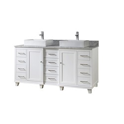 DIRECT VANITY SINKS 72BD15P-WAWC ULTIMATE CLASSIC 72 INCH VANITY IN WHITE WITH CARRARA WHITE MARBLE VANITY TOP WITH VESSEL SINKS