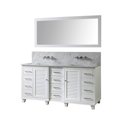 DIRECT VANITY SINKS 72BD16-WWC-WM-M ULTIMATE SHUTTER PREMIUM 72 INCH VANITY IN WHITE WITH CARRARA WHITE MARBLE VANITY TOP WITH WHITE BASINS AND MIRROR