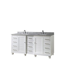 DIRECT VANITY SINKS 72BD16P-WWC ULTIMATE SHUTTER 72 INCH VANITY IN WHITE WITH CARRARA WHITE MARBLE VANITY TOP WITH WHITE BASINS