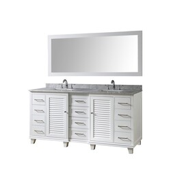 DIRECT VANITY SINKS 72BD16P-WWC-M ULTIMATE SHUTTER 72 INCH VANITY IN WHITE WITH CARRARA WHITE MARBLE VANITY TOP WITH WHITE BASINS AND MIRROR