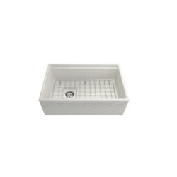 BOCCHI 1345-0120 VIGNETO 30 INCH APRON FRONT STEP RIM FIRECLAY SINGLE BOWL KITCHEN SINK WITH PROTECTIVE BOTTOM GRID AND STRAINER