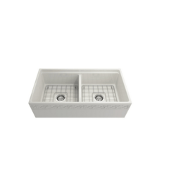 BOCCHI 1349-0120 VIGNETO 36 INCH APRON FRONT STEP RIM FIRECLAY DOUBLE BOWL KITCHEN SINK WITH PROTECTIVE BOTTOM GRID AND STRAINER