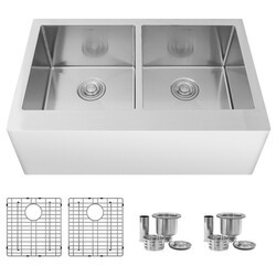 STYLISH S-315XG 33 L X 21 W INCH STAINLESS STEEL DOUBLE BASIN UNDERMOUNT KITCHEN SINK WITH GRIDS AND STRAINERS
