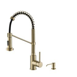 KRAUS KPF-1610-KSD-53SFACB BOLDEN 18 INCH SINGLE HANDLE COMMERCIAL KITCHEN FAUCET WITH SOAP DISPENSER IN SPOT FREE ANTIQUE CHAMPAGNE BRONZE