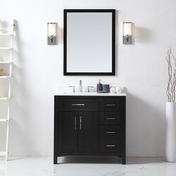OVE DECORS 15VKC-TAHB36-C69EI TAHOE 36 INCH ESPRESSO SINGLE SINK BATHROOM VANITY WITH WHITE CULTURED MARBLE TOP AND MIRROR