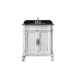 OVE DECORS 15VVA-TREN30-081AF TRENT 30 INCH ANTIQUE WHITE SINGLE SINK BATHROOM VANITY WITH BLACK GRANITE TOP