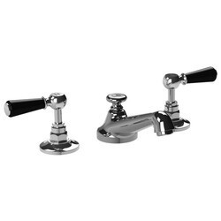 LEFROY BROOKS CB-1050 CLASSIC BLACK THREE HOLES DECK MOUNT BASIN MIXER WITH POP-UP WASTE AND LEVER HANDLES
