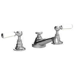 LEFROY BROOKS CW-1050 CLASSIC THREE HOLES DECK MOUNT BASIN MIXER WITH POP-UP WASTE AND WHITE LEVER HANDLES