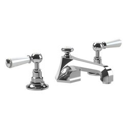 LEFROY BROOKS CW-1103 CLASSIC THREE HOLES DECK MOUNT MACKINTOSH BASIN MIXER WITH POP-UP WASTE AND WHITE LEVER HANDLES