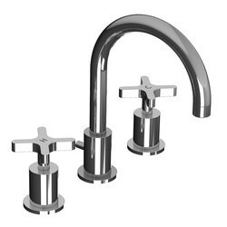 LEFROY BROOKS K1-1101 KAFKA 9 1/4 INCH THREE HOLES DECK MOUNT BASIN MIXER WITH POP-UP WASTE AND CROSS HANDLES