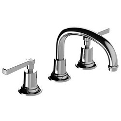 LEFROY BROOKS M2-1122 FLEETWOOD 5 3/4 INCH THREE HOLES DECK MOUNT BASIN MIXER WITH LEVER HANDLES